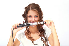 Mädchen mit dem lockigen Haar stockbild