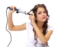 Mädchen mit dem lockigen Haar lizenzfreies stockfoto