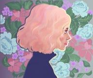 Mädchen mit dem rosa Haar auf dem Hintergrund von Blumen Stockbild