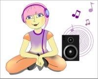 Mädchen mit dem rosa Haar in den Kopfhörern stock abbildung