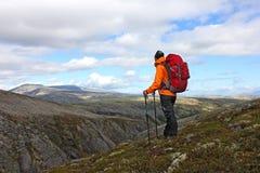 Mädchen mit dem Rucksack, der auf einen Berg und ein Suchen steht Stockbild