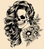 Mädchen mit dem Skelett bilden Hand gezeichnete Vektorskizze Sankt-muerte Frauenhexenporträt-Vorratillustration lizenzfreie abbildung