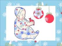 Mädchen mit dem Weihnachtsspielzeug lizenzfreie abbildung