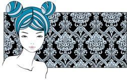 Mädchen mit den blauen Haaren Stockfotografie