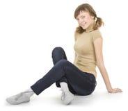Mädchen mit den Flechten, die Jeans tragen Stockbilder