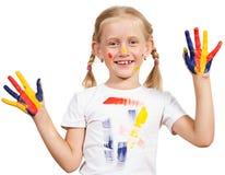 Mädchen mit den gemalten Händen Lizenzfreies Stockfoto