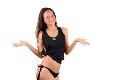 Mädchen mit den Händen, die oben für Brasilien glücklich sind. Stockfotografie