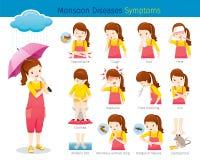 Mädchen mit den Monsun-Krankheits-Symptomen eingestellt stock abbildung