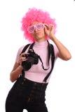 Mädchen mit den rosafarbenen Haaren Stockbild
