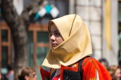 Mädchen mit den sardinischen typischen Kostümen Stockbild