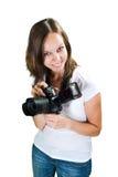 Mädchen mit der Berufsdigitalkamera lokalisiert auf weißem Hintergrund Lizenzfreies Stockbild