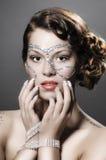 Mädchen mit Diamanten bilden Lizenzfreies Stockfoto