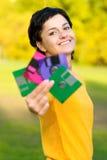 Mädchen mit Disketten lizenzfreie stockfotografie