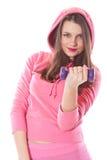 Mädchen mit Dumbbells Lizenzfreie Stockbilder