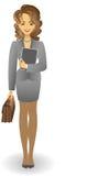 Mädchen mit einem Aktenkoffer in einer grauen Klage Stockfoto