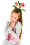 Mädchen mit einem alstromeriya Lizenzfreies Stockbild