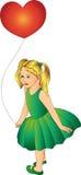 Mädchen mit einem Ballon in einem grünen Kleid Stockfotografie