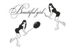 Mädchen mit einem Ballon und einer Beschriftung stock abbildung
