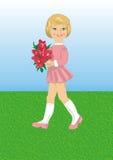 Mädchen mit einem Blumenstrauß der Blumen Stockbilder