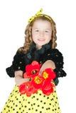 Mädchen mit einem Blumenstrauß von Tulpen lizenzfreies stockfoto