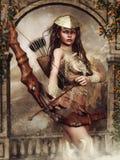 Mädchen mit einem Bogen stock abbildung