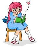 Mädchen mit einem Buch vektor abbildung