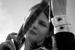 Mädchen mit einem Film Stockfotografie