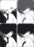 Mädchen mit einem flüssigen Haar Stockfotografie
