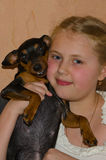 Mädchen mit einem Hund Lizenzfreie Stockfotografie