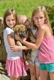 Mädchen mit einem Hund Stockfotos