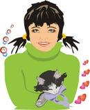 Mädchen mit einem Kätzchen lizenzfreie abbildung