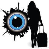 Mädchen mit einem Koffer und ble mustern Vektorillustration Lizenzfreie Stockfotografie