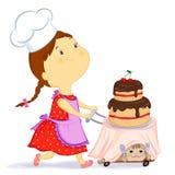 Mädchen mit einem Kuchen Stockfotografie