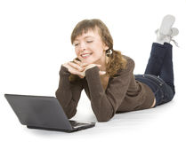 Mädchen mit einem Laptop Stockfotos