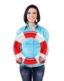 Mädchen mit einem lifebuoy Lizenzfreie Stockbilder