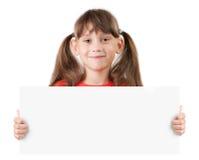 Mädchen mit einem Plakat in den Händen Lizenzfreies Stockfoto
