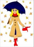 Mädchen mit einem Regenschirm vektor abbildung