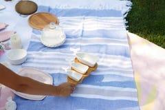 Mädchen mit einem Satz weißen leeren Saucieren auf einem hölzernen Behälter dient ein Picknick stockfotos