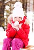 Mädchen mit einem Schneeball Stockfotografie