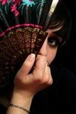 Mädchen mit einem spanischen Gebläse Stockbild