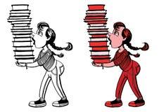 Mädchen mit einem Stapel Büchern Stockfotos