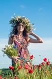 Mädchen mit einem Wreath der Blumen Gesicht des schönen ukrainischen Mädchens in einem Kranz des Sommers blüht auf Natur lizenzfreies stockfoto
