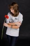 Mädchen mit einer Blume Stockfoto