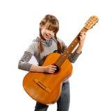 Mädchen mit einer Gitarre stockbild