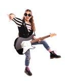 Mädchen mit einer Gitarre Lizenzfreies Stockfoto