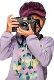 Mädchen mit einer Kamera Lizenzfreies Stockbild