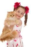 Mädchen mit einer Katze stockfotografie
