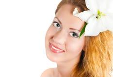 Mädchen mit einer Lilie stockfotos