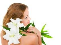 Mädchen mit einer Lilie lizenzfreies stockbild