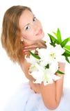 Mädchen mit einer Lilie stockfoto